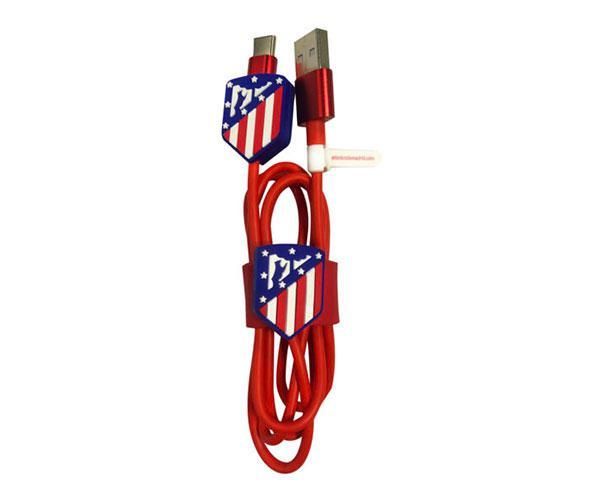 Set cable de datos Tipo C+Protector+Organizador  Atletico de Madrid con licencia