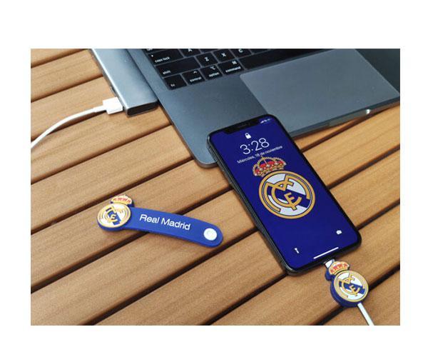 Set cable de datos Tipo C+Protector+Organizador Real Madrid con licencia