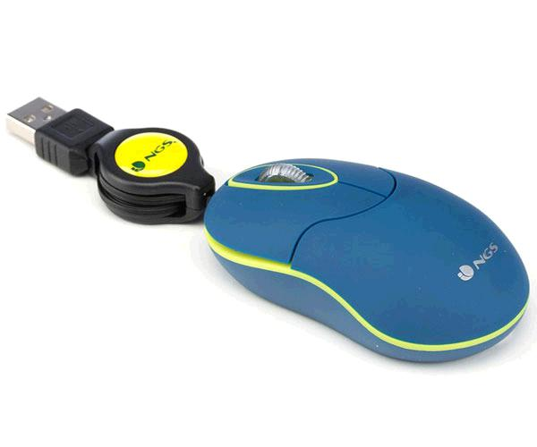 RATON USB RETRACTIL NGS SIN BLUE - AMBIDIESTROS - 1000 DPI - AZUL