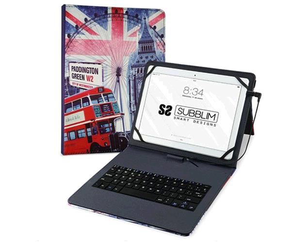 Funda con teclado 10.1 Subblim Keytab Usb England - Teclado español - Microusb - Type-c - Solapa magnetica