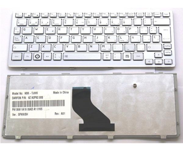 TECLADO TOSHIBA MINI NB200 - NB255 - NB300 - NB305 PLATA