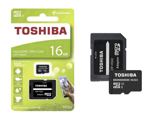 Micro sd hc Toshiba 16Gb m203 - clase 10 - 100mb-s - con adaptador sd