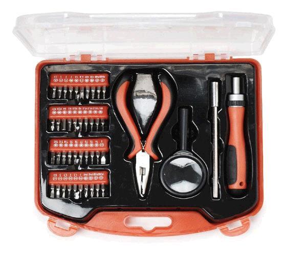 Kit de herramientas Gembird 44 uds - torx - tri-wing - estrella