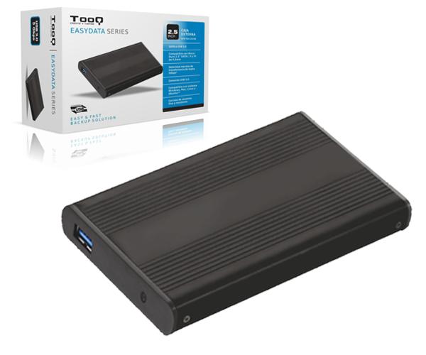 Caja externa 2.5 USB 3.0 sata tooq negra 9.5mm tqe-2524b