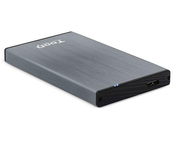 Caja externa aluminio 2.5 USB 3.0 sata Tooq Gris 9.5mm tqe-2527g