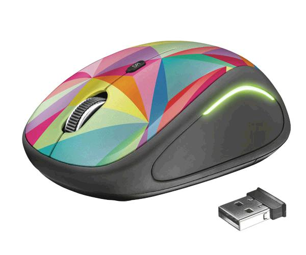 Raton inalámbrico USB Trust Yvi Fx Geometrics - 800-1600 Dpi - Iluminacion Led