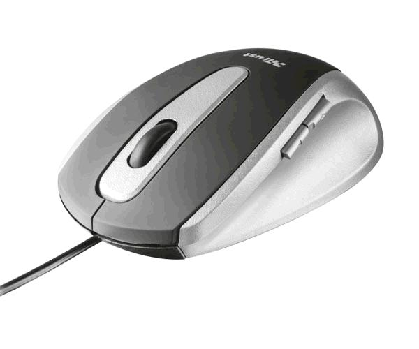 Raton USB Trust Easyclick - 5 botones - 1000 Dpi - Diseño Ergonomico - Negro-Plata
