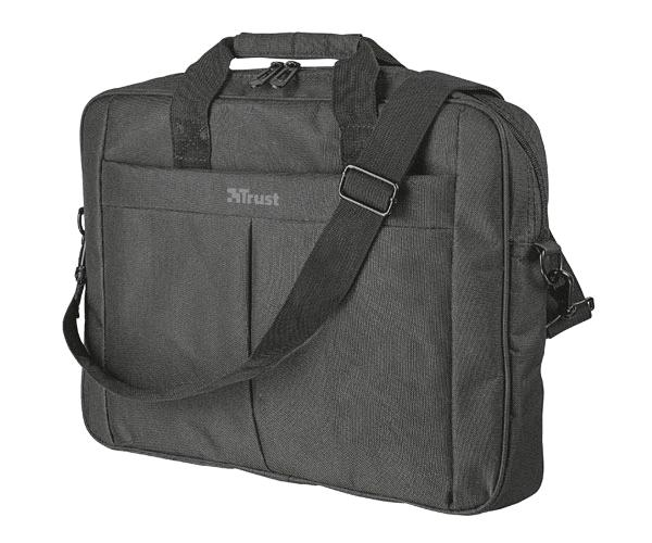 Maletin Trust primo negro - hasta 16 pulg. - correa al hombro ajustable - compartimento principal acolchado