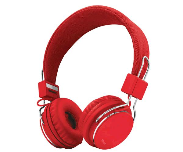 AURICULARES TRUST ZIVA RED - PLEGABLES - JACK 3.5MM - MICROFONO