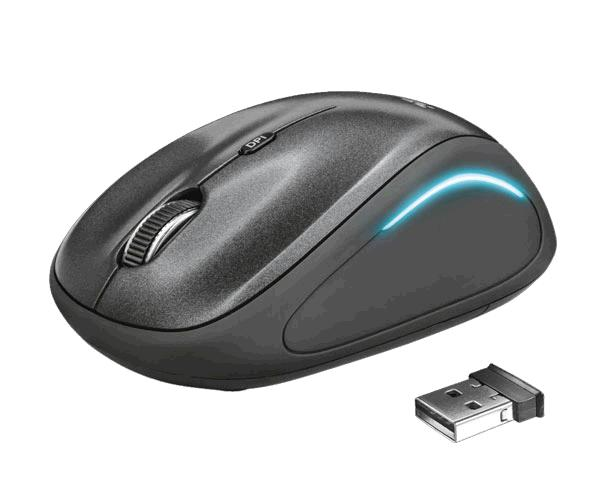 Raton inalámbrico Trust Ivi Fx Black - Led - alcance 8m - ambidiestro - nano USB