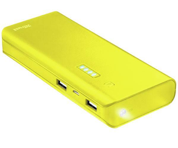 Powerbank universal Trust Urban primo yellow - 10.000 mah - 2xUSB - linterna - indicador carga