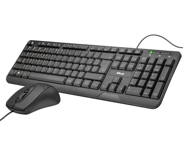 Combo teclado + raton Trust Ziva Deskset - USB - Negro