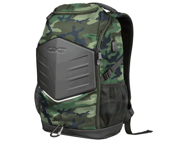 Mochila Trust Gxt 1255 Outlaw Camo Gaming backpack hasta 15.6p. - 4 compartimentos - hebilla pecho ajustable