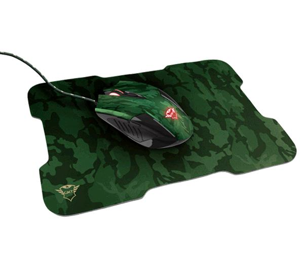 Raton Gaming Led + Alfombrilla Trust gaming Gxt 781 Rixa Camo - 3200 dpi - 6 botones - 220mm x 300mm