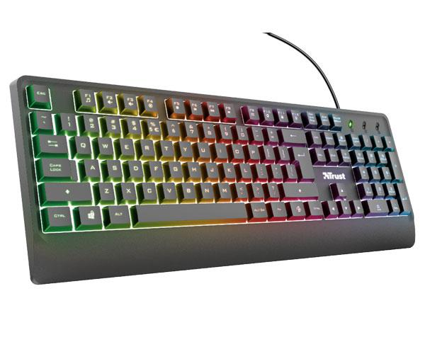 Teclado Trust Ziva Gaming Rainbow - Iluminacion Led Multicolor - Pc - Ps4 - Xbox One - 12 Teclas Multimedia
