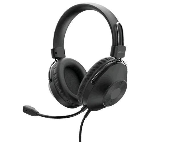 Auriculares Diadema Trust HS-250 On ear - Usb - Microfono incorporado - Altavoz 40mm - Cable 2m - Negro