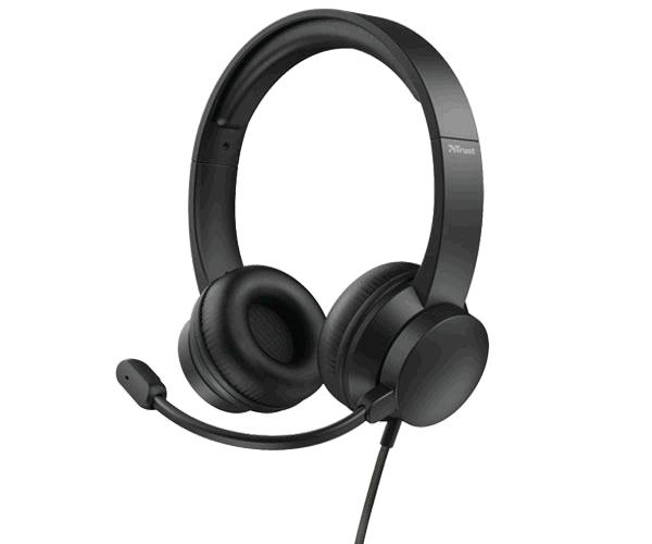 Auriculares Diadema Trust HS-200 On ear - Usb - Microfono incorporado - Cable 1.8m - Negro