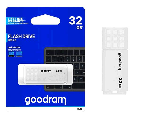 Pendrive Goodram Ume2  - 32Gb - USB 2.0 - Blanco - Ume2-0320w0r1