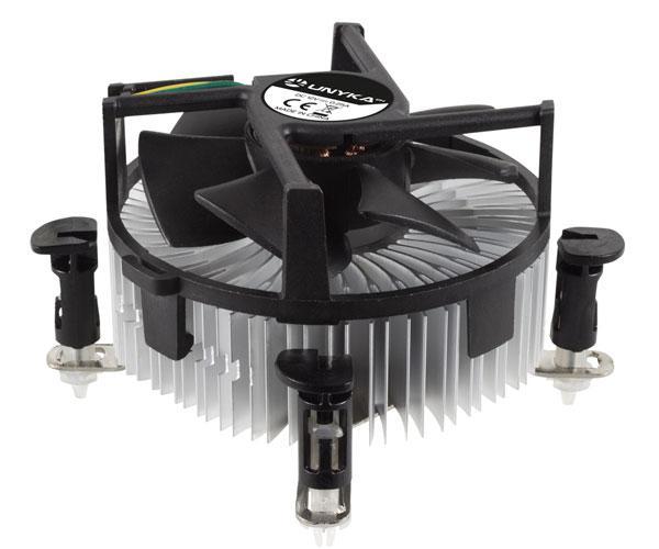 Ventilador Cpu Unyka - Base Aluminio - Perfil bajo 63cm - Fan 90mm - Intel Lga 1151-1155-1150-1156-775