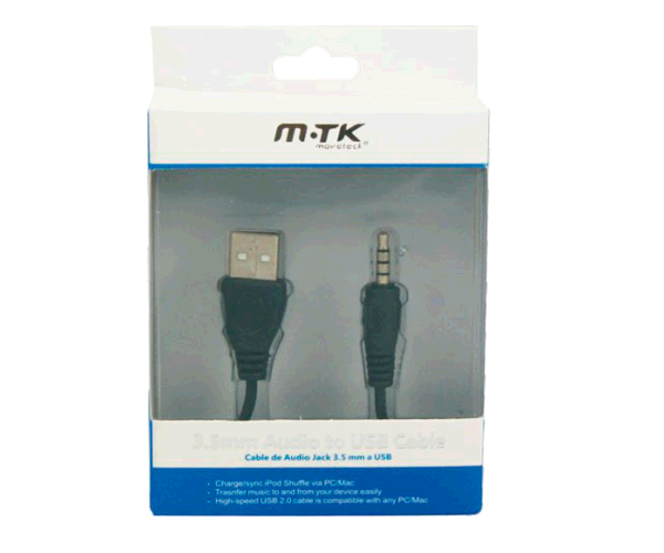 CABLE AUDIO JACK 3.5MM A USB MACHO