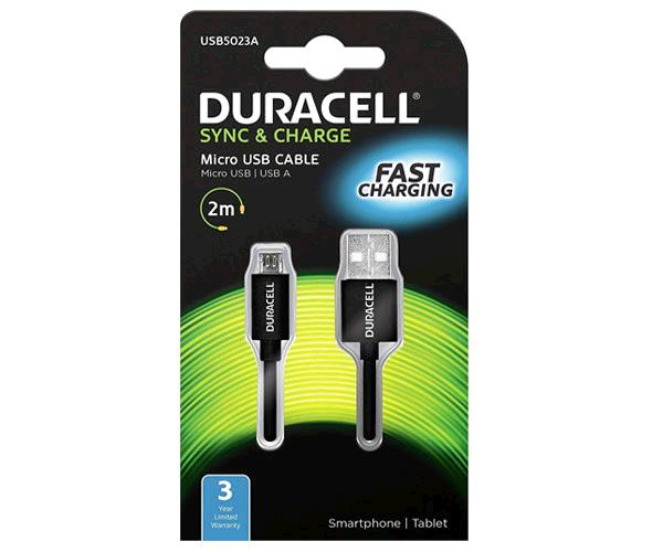 Cable Usb a Micro usb Duracell - 2m - Negro - Usb5023a