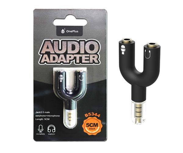 Adaptador divisor de audio y microfono Jack 3.5mm macho a 2 Jack 3.5mm Hembra - B5344 - Negro - One+