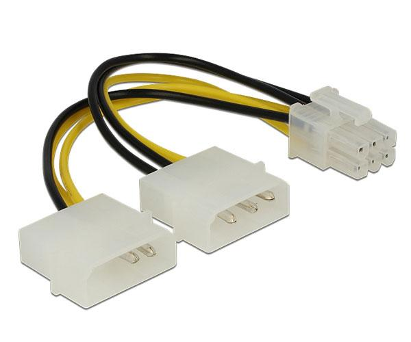 Cable molex gráfica 2x5.25 a 6 pines pci-e - 15cm - Delock 82315