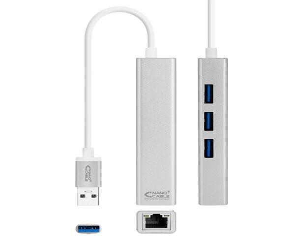 Conversor USB 3.0 a Ethernet Gigabit + 3xUSB 3.0, Plata, 15 cm - 10.03.0403