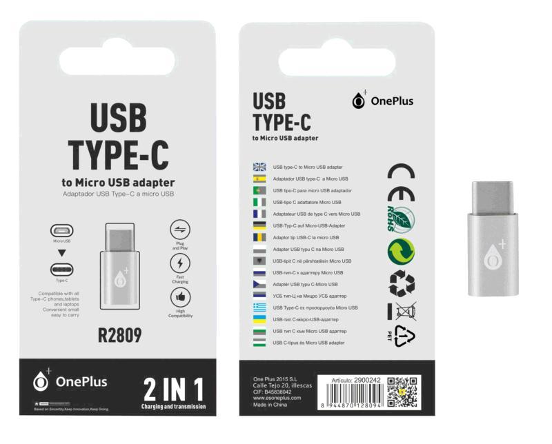 Adaptador Micro USB a Type-C plata r2809 one +
