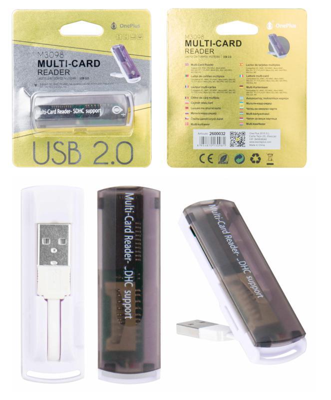 Lector tarjetas USB externo m3098