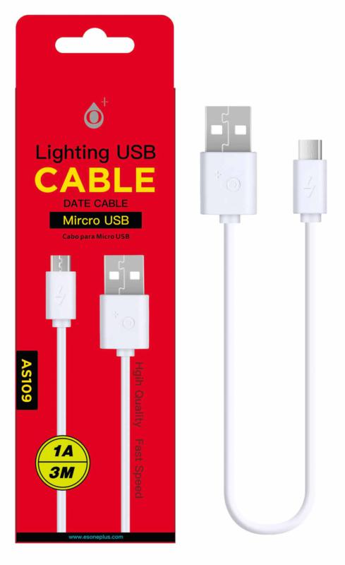 CABLE USB A MICRO USB 3M BLANCO AS109 ONE+
