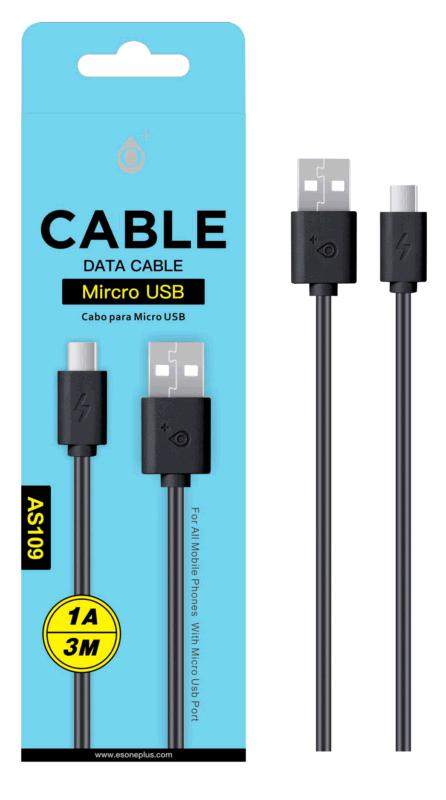 CABLE USB A MICRO USB 3M NEGRO AS109 ONE+