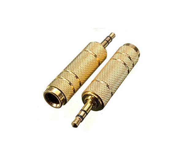 Adaptador Jack 6.3 hembra a 3.5 macho metalico oro