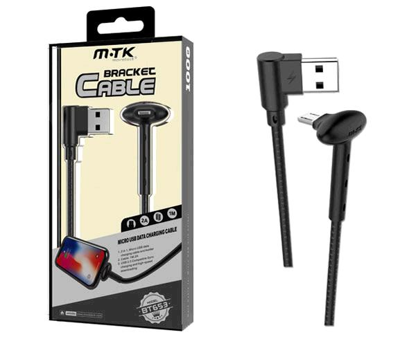 CABLE DATOS BRACKET BT653 MICRO USB CON SOPORTE - 2A - 1M - NEGRO
