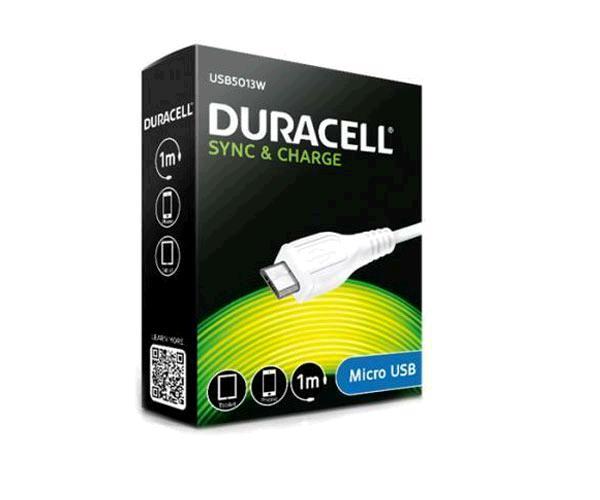 Cable Usb a Micro usb Duracell - 1m - Blanco - Usb5013w