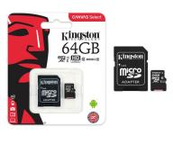 Micro sd hc Kingston uhs-i 64Gb canvas select 80mb/s clase 10  con adaptador