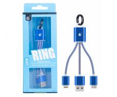 CABLE DE DATOS LLAVERO K8047 MICRO USB / IPHONE 5/6/7/8 AZUL ONE+