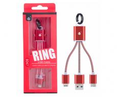 CABLE DE DATOS LLAVERO K8047 MICRO USB / IPHONE 5/6/7 ROJO ONE+