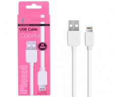 CABLE DATOS IPHONE 5/6/7 ALTA CALIDAD 1M ONE+ AA110  BLANCO