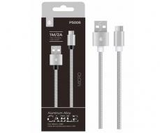 CABLE DATOS MICRO USB ALUMINIO P5006 1M / 2A / PLATA / ONE+