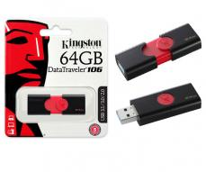 Pendrive Kingston dT106 64Gb USB 3.0 / 3.1 gen 1 -  negro / rojo