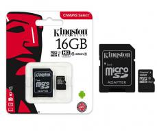 MICRO SD HC KINGSTON UHS-I 16GB CANVAS SELECT 80MB/S CLASE 10  CON ADAPTADOR