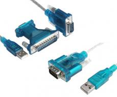 CABLE ADAPTADOR USB A SERIE (RS232) / PARALELO (DB25) MACHO